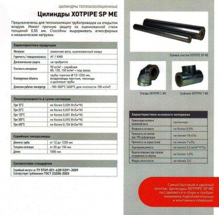 Минераловатные цилиндры Xotpipe SP ME  (Хотпайп),  теплоизоляционные цилиндры в металлической оболочке для теплоизоляции труб и трубопроводов